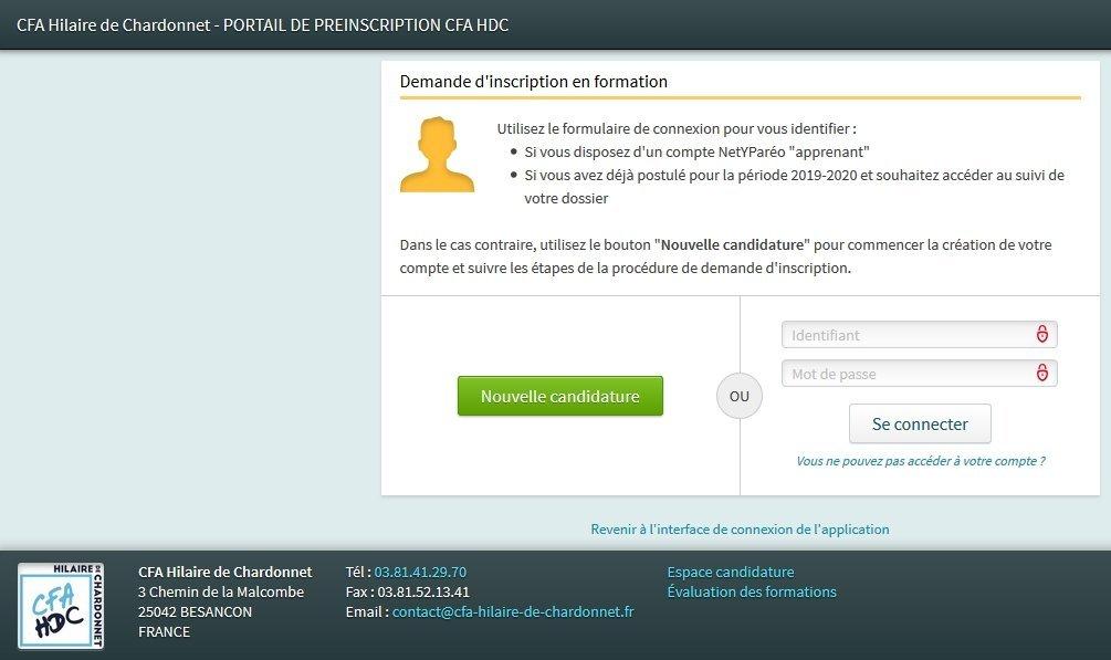 NOUVEAU CONTRAT D'APPRENTISSAGE : fiche de renseignements à déposer sur le portail de préinscription